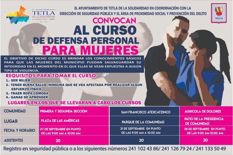 Tetla impartirá cursos gratuitos de defensa personal para mujeres.